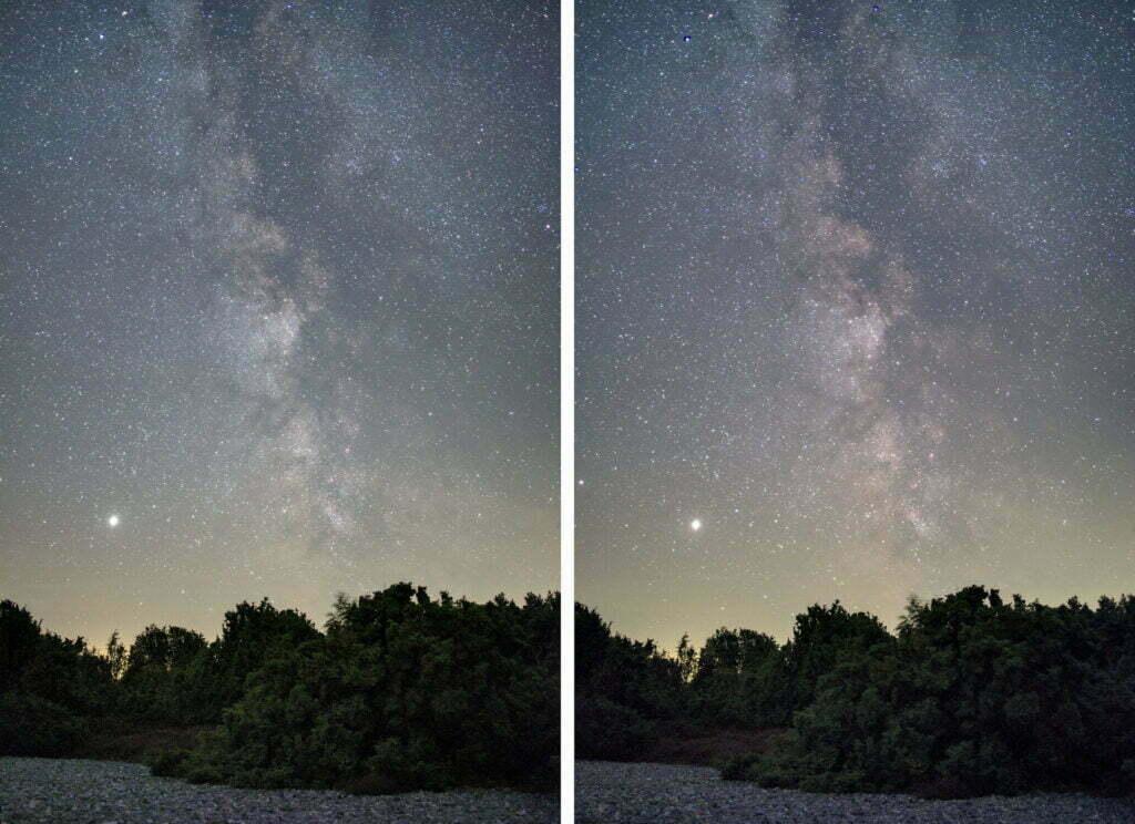 Links: Normale Kamera | Rechts: Kamera umgebaut mit Astrofilter