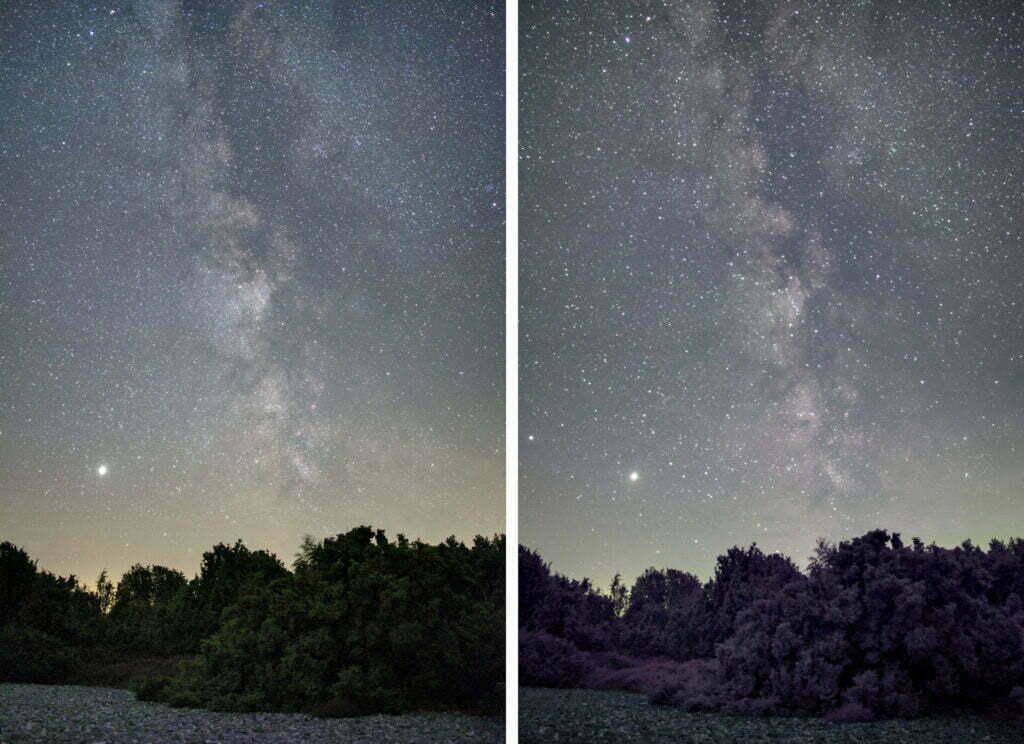 Links: Normale Kamera | Rechts: Vollspektrum Kamera